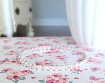 Sterling Silver Bangle | Floral Pattern Bangle | 5MM Solid Silver Bangle | Silver Bangle Bracelet | Silver Berry Bangle | Bali Wire Bangle