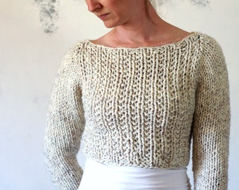 Crop Top Sweater Knitting Pattern - instruction on how to knit - SILENCE