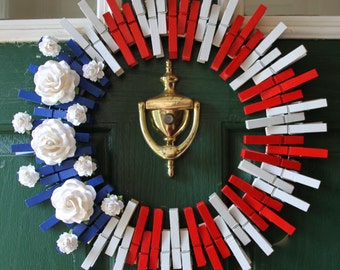 Fourth of July Wreath - 4th of July Wreath - Americana - Stars and Stripes, Red White and Blue, Clothespin Wreath, Patriotic, American Flag