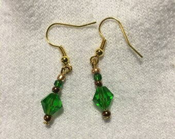 Green, Brown, and Gold Earrings