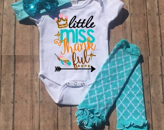 Baby Thanksgiving Outfit , Little Miss Thankful Bodysuit, Baby, Baby Girl, Girl, Toddler Shirt, Thanksgiving, Fall, Pumpkin