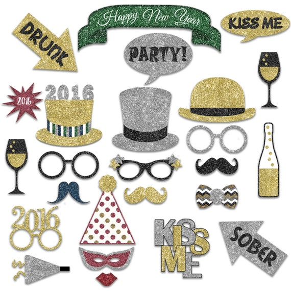 New Years Photo Booth Props 2016 - Printable Decorations and Banner ...