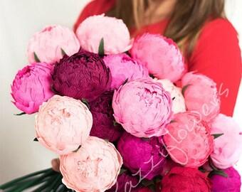 Wedding flowers,wedding bouquet,wedding peonies,paper flower bouquet,ivory peonies,paper flowers,bridal flower,peonies bouquet,
