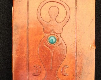 MOTHER GODDESS Pagan Wicca Handmade Leather Grimoire, Book-of-Shadows, Diary - with Green Onyx Gemstone