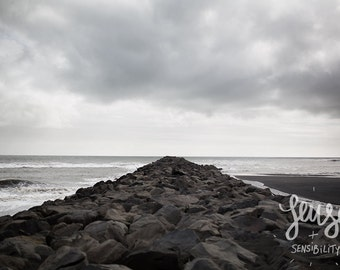 Landscape Photography, Beach Photo, Vik Iceland, Nature Photography, Minimalist Art, Black Sand Beach - Black