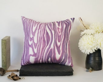 Handpainted Silk Pillow Cover, Plum Woodgrain Design