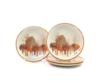 Vintage Mikasa Stylekraft / Walnut Grove / 1970s Stoneware / Salad Plates / Set of 4 / Fall Autumn / Trees Leaves / C0905