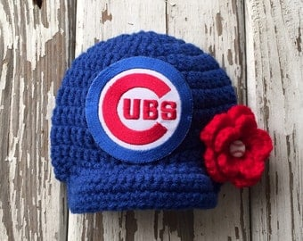 Baby Girl Cubs Inspired Baseball Hat / Newborn Photo Prop / Sizes Newborn - 9 Months **MADE TO ORDER**