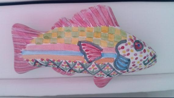 Mackenzie childs drawer fish pull hand painted with for Mackenzie childs fish rug