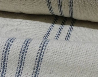 "SALE French Grain Sack Fabric By The Yard - Farmhouse Cream Fabric - Blue 9 Stripe - 54"" Wide - Upholstery Fabric - WAS 14.99"