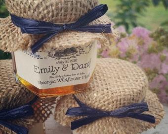 Georgia Honey Favors - 100 (1.5oz) Honey Jar Favors - Rustic Wedding Favor - Bridal Shower Favor - Thank You Favor - Baby Shower Favors