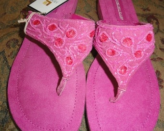Pink Beaded Sandals . Pink Suede . Leather Sandals . 9 5M . Hot Pink Sandal .  Montego Bay .  Metallic  . Thong Sandal . NWT . Shoe 1