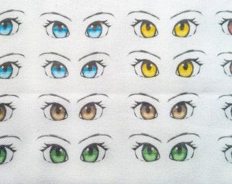 SET 2, 16 pairs, Fabric Anime Eyes for dolls, DIY, cute handmade applique cotton, dollmaking amigurumi eyes // crochet