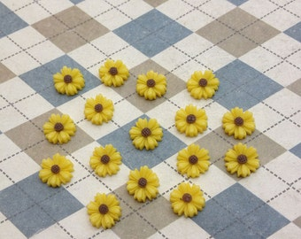 50pc yellow color resin Sunflower charms Flower Cabochons Resin Flowers 9mm