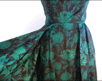 1950s Vintage Dress Coctail madmen Black green floral beaded bodice