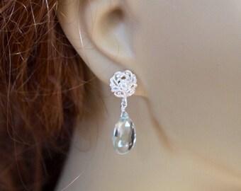Green amethyst dangle earrings, green amethyst wedding earrings, Green Amethyst Earrings