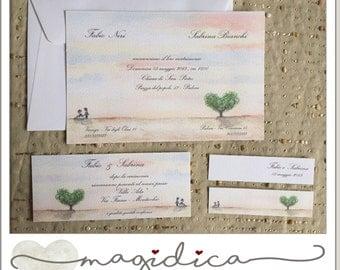 wedding invitations - watercolor - handmade