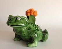 Green Toad Ceramic Figural Planter - Open Back Amphibian Frog Planter