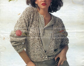 "Lady's Cardigan 30-40"" DK Sirdar 7142 Vintage Knitting Pattern PDF instant download"