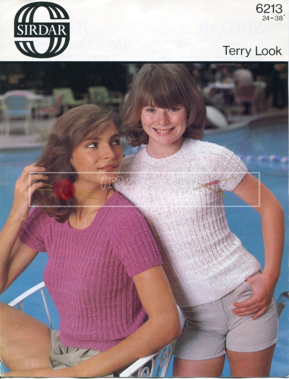 """Teenager Lady's Sweater 24-38"""" 4-ply Sirdar 6213 Vintage Knitting Pattern PDF instant download"""