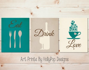 Teal Kitchen decor Modern kitchen art set Kitchen wall prints Fork Spoon Knife Kitchen quote Coffee Wine print Eat Drink Love Wine art #1616