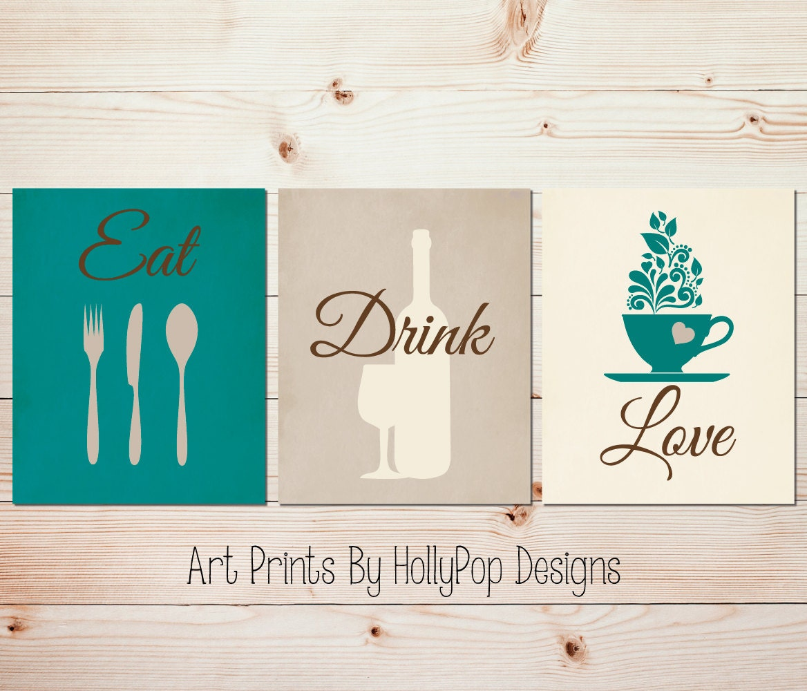 Kitchen Art 32cm: Teal Kitchen Decor Modern Kitchen Art Set Kitchen Wall Prints