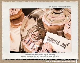 8x10 Bears Don't Share Funny Art Print • Humorous Print • Donut Art •  Kitchen Decor • Gifts Under 20 • Woodland Animal Print • Food Art