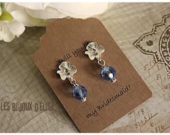 Bridesmaid Blue Earrings Bride Gift Blue Earrings