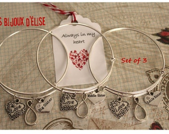 3 pcs Love Forever Wire Bangle Bracelets Big Middle and Little Sister Family Charms Bangle Expandable Bracelet