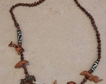 On Sale Safari Style Wooden Beaded 24 inch with Hand Carved Animals Costume Jewelry Fashion Accessory