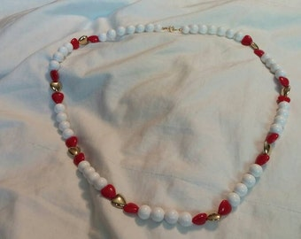 On Sale Bright White 30 inch Red and Gold Hearts Beaded Necklace Gold Toned Costume Jewelry Fashion Accessory