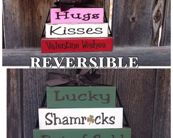 Reversible Valentines and St Patricks day Mini stacker blocks--Hugs,Kisses, Valentine wishes reverses with Lucky, Shamrocks,Pot of Gold