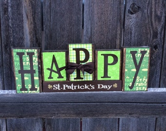 St Patrick's day wood blocks-Happy St Patricks day