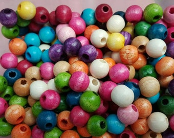B0001 Colored Wood Beads Colorful Necklace Beads Kids Wooden Jewelry Supply Round Girls Fun Neon Bright Color Beads (100beads)