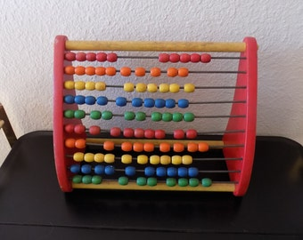 Vintage PlaySkool Childs Counting Toy Abacus Educational Learning Colors