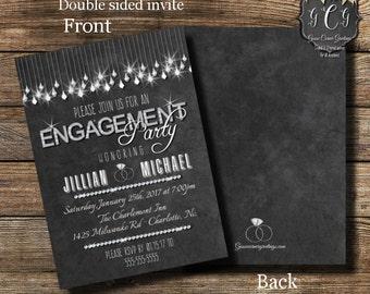Printable Engagement Invitation, Engagement  Invitations, Bling Party invitations,Diamond Invitation, Rhinestone Invitation, Glam invite
