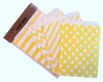 Set of 100 Craft Paper Bags/Candy Sweet Gift , 13x18cm - 4 designs - Yellow