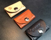 "FIDO Leather Pet Tag Silencer /  Wrap Around Collar Style - Now with ""Pull-The-Dot"" Snap Closure / FREE USA Shipping"
