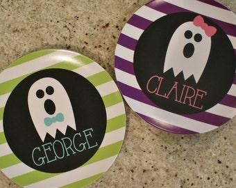 personalized Melamine Plate - custom melamine dish halloween ghost