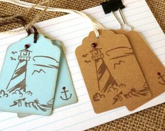 Nautical Favor Tags - Deatination Wedding Theme - Beach Wedding Theme - Hawaii Wedding Tags - Ocean Themed Tags - Lighthouse Tags
