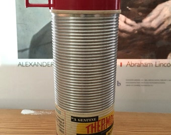 Thermos Bottle // Industrial Silver Ribbed - ORIGINAL LABEL // Genuine Thermos Vacuum Bottle