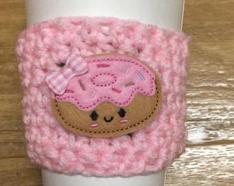 Frosted donut cozy, pink coffee cozy, doughnut coffee cozy