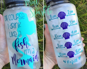 Mermaid Motivational/Accountability water bottle. Mint/Purple/Teal