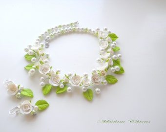 Elegant necklace, necklace and earrings, a necklace with pearls, wedding necklaces, jewelry, handmade