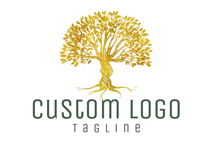 DIGITAL logo personnalisé logo arbre doré logo arbre logo