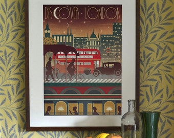 London Transport Travel Underground Bus Train Night Art Deco Bauhaus Poster Print A3 A2 A1 Vintage Retro Vanity Fair 1940's Vogue Cityscape
