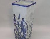 Handmade Decoupage Glass Decorative Vase, Vintage, Paris, Lavender, Home Decor