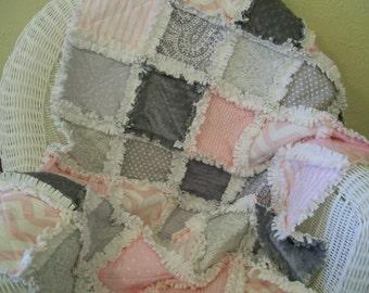 Crib Rag Quilt Pink Gray Minky Chenille Chevron Baby Quilt Baby Bedding Crib Bedding Girl Shabby Chic