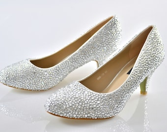 Swarovski Crystal Glitter Silver Custom Bridal Low kitten Heel round toe Luxury White Leather Pump court