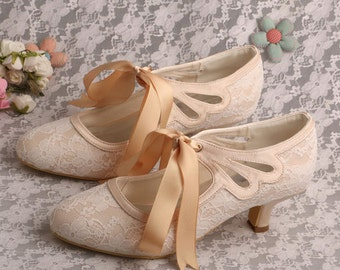 Custom handmade Champagne nude satin bow tie front Low kitten heel bridal wedding lace ankle mary jane boot court